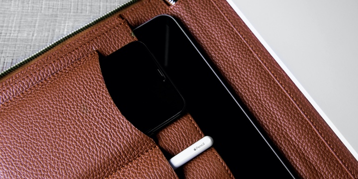 Luxuriöse A4-Aktenmappe - Cognac - Genarbtes Leder